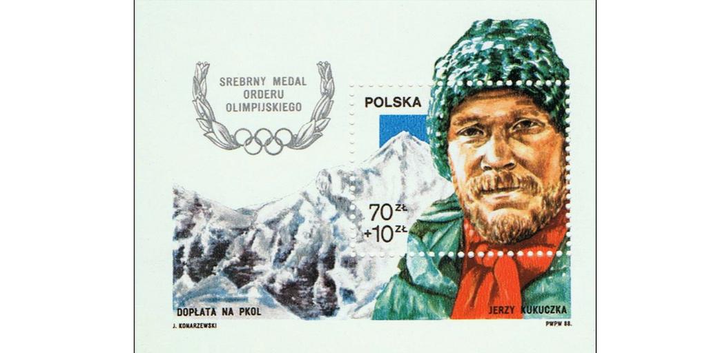 Znaczek pocztowy Jurek Kukuczka