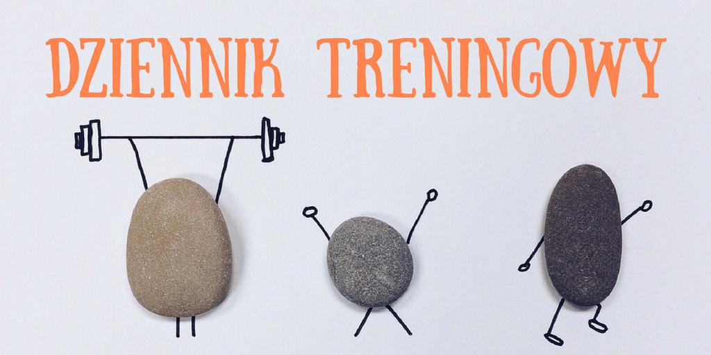 Ćwiczące kamienie i napis Dziennik treningowy