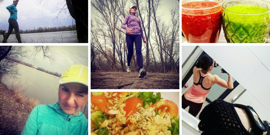 zdjęcia z biegania, siłowni i jedzenia